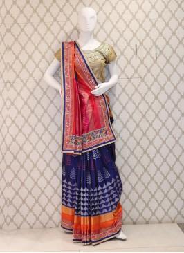 Admirable Blue Patoda Silk Handwork Saree