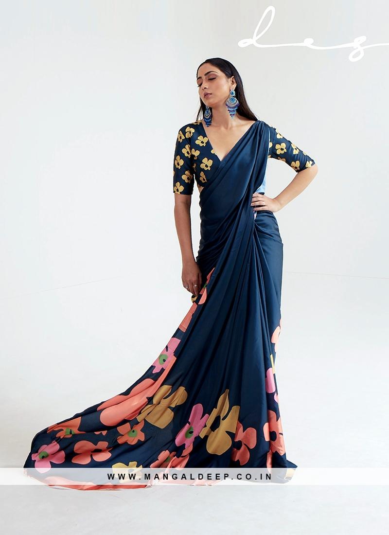 Adorable Multi Color Printed Satin Saree