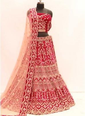 Adroable Pink Color Velvet Bridal Lehenga