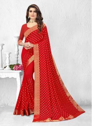 Adroable Red Color Silk Saree