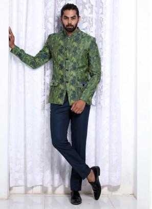 Aesthetic Green Jodhpuri Suit