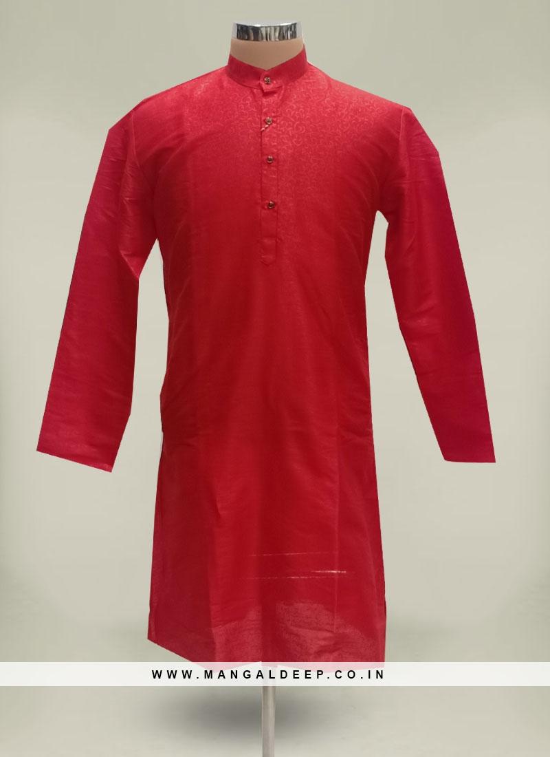 Allure Textured Red Kurta