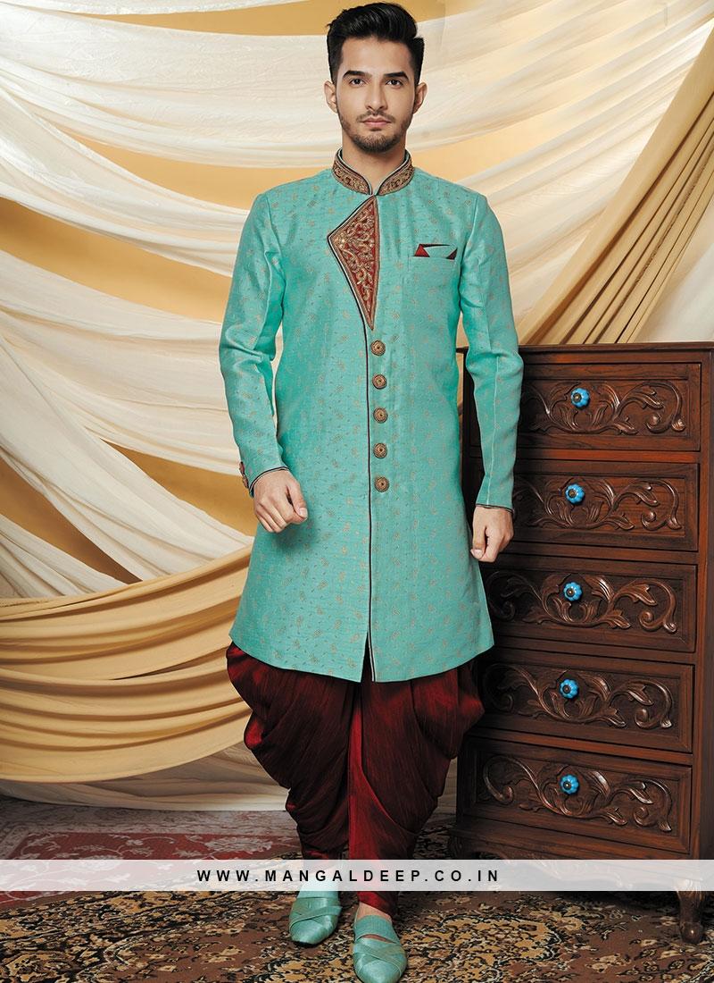 Alluring Blue Party Wear Indo western set