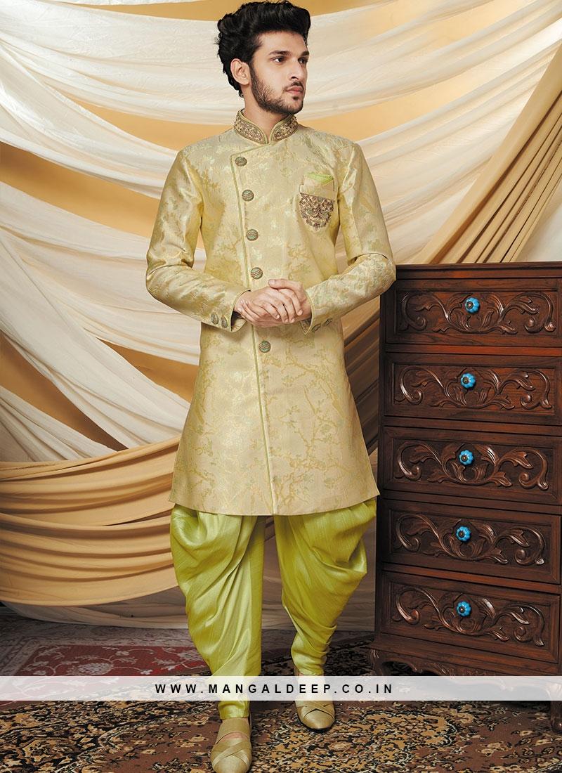 Alluring Cream Party Wear Indo western set
