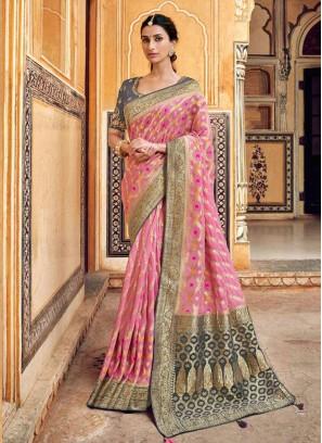 Alluring Pink  Color Embroidered Fancy Designer Saree