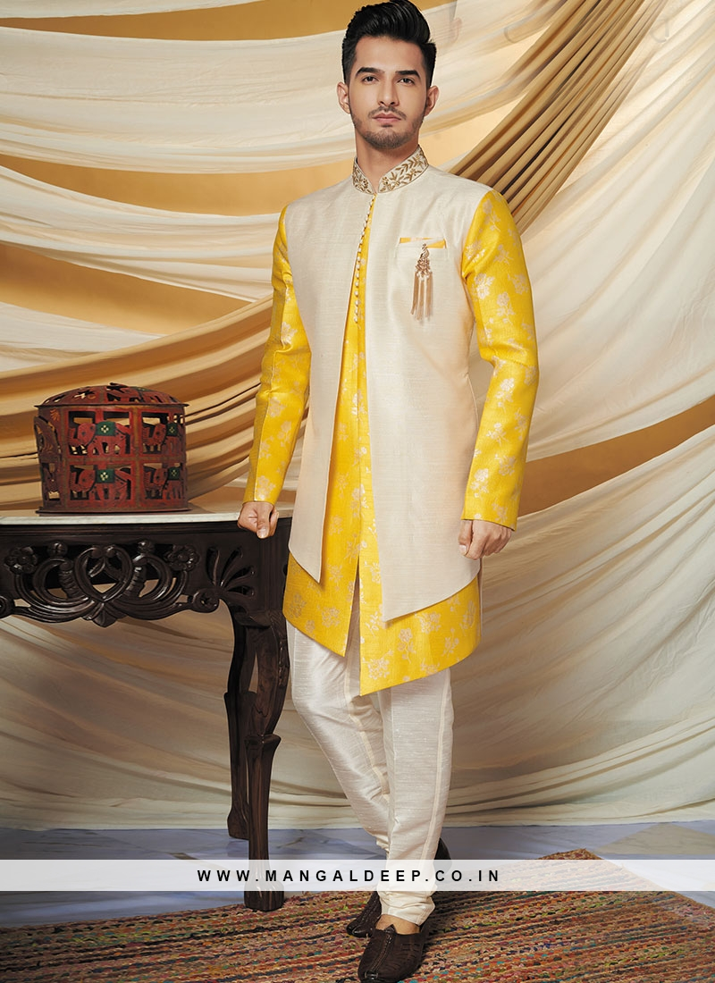 Alluring Yellow Party Wear Indo western set