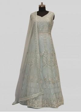 Amazing Blue Color Net Diamond Work Gown