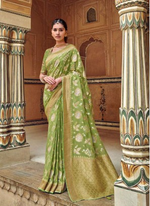 Green Color Embroidered Designer Saree