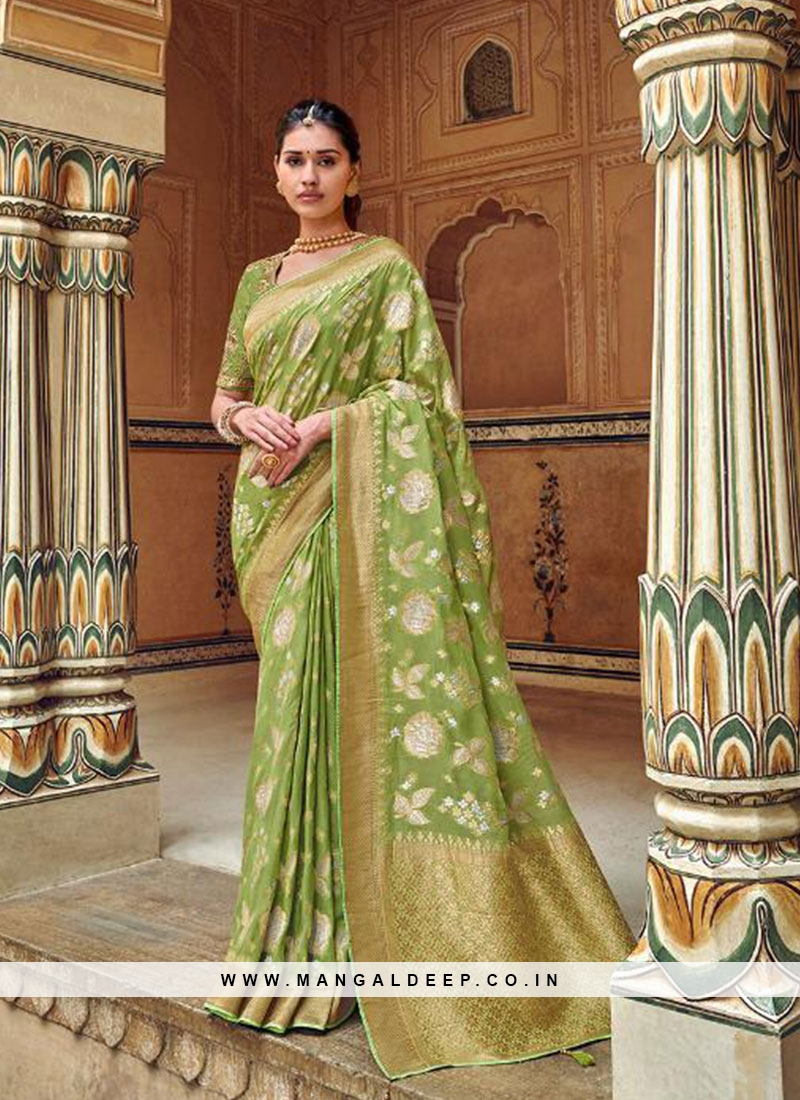 Green Color Embroidered Designer Saree