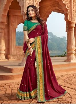 Amazing Maroon Color Silk Saree