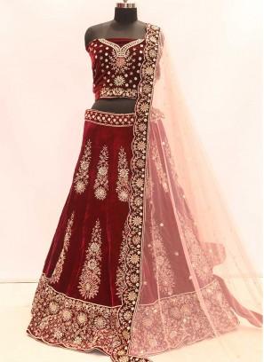 Amazing Maroon Color Velvet Bride Lehenga