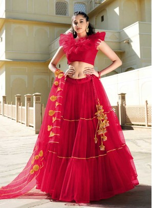 Amazing Red Color Butterfly Net Lehenga