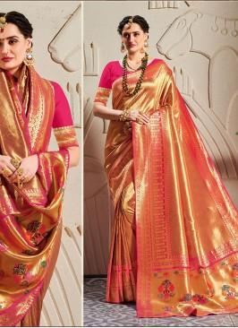 Amazing Zari Work Banarasi Silk Red Saree