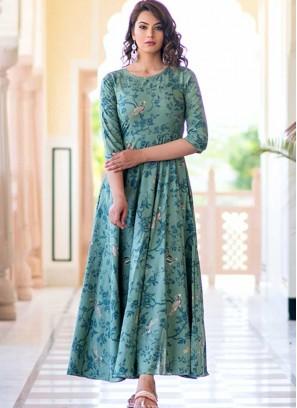 Aqua Blue Color Printed Gown