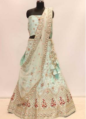 Aqua Blue Color Silk Wedding Lehenga