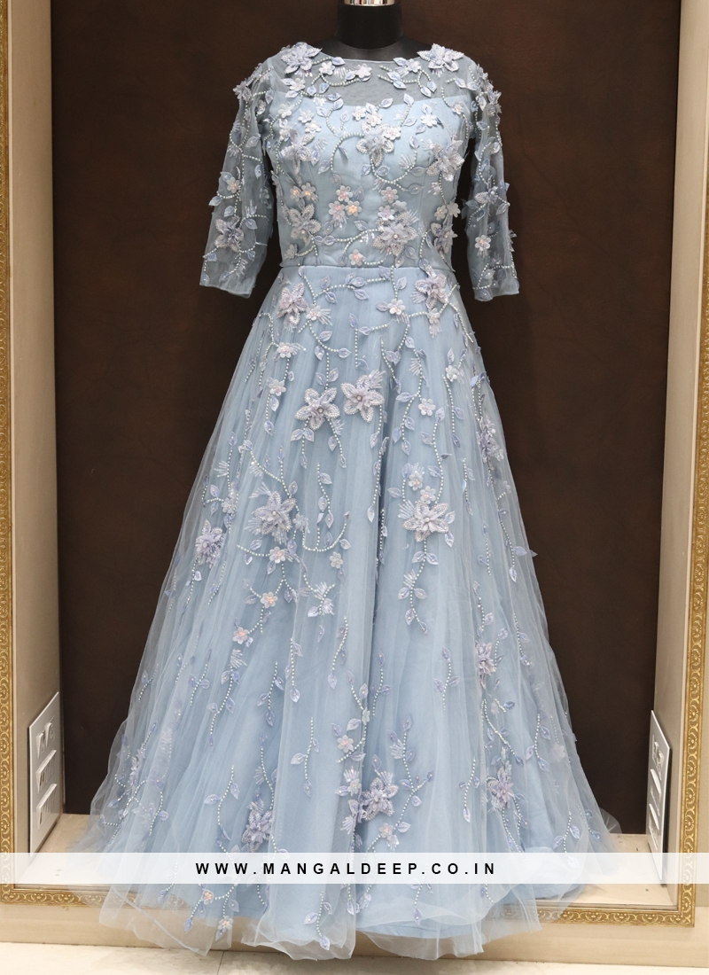 Aqua Blue Net Fancy Work Designer Reception Wear Gown