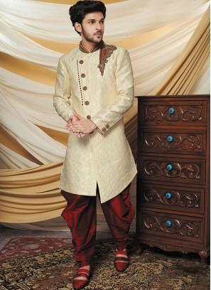 Aristocratic Beige Indo Western Set