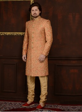 Art Banarasi Silk Churidar Style Wedding Sherwani In Gold