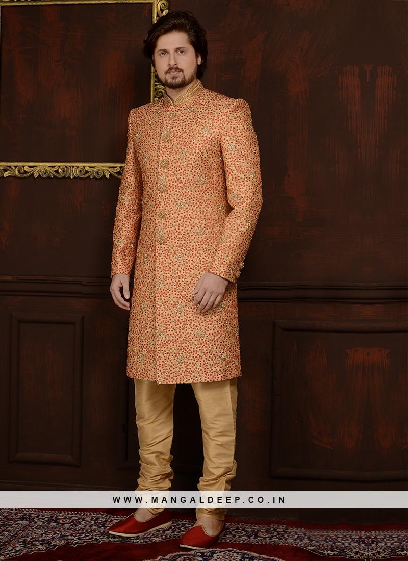 Art Banarasi Silk Churidar Style Wedding Sherwani In Gold