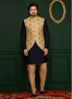 Art Banarasi Silk Navy Blue Partywear Indo Western