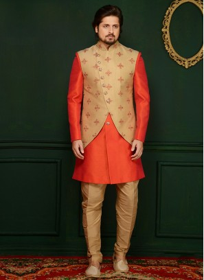 Art Banarasi Silk Orange Partywear Indo Western