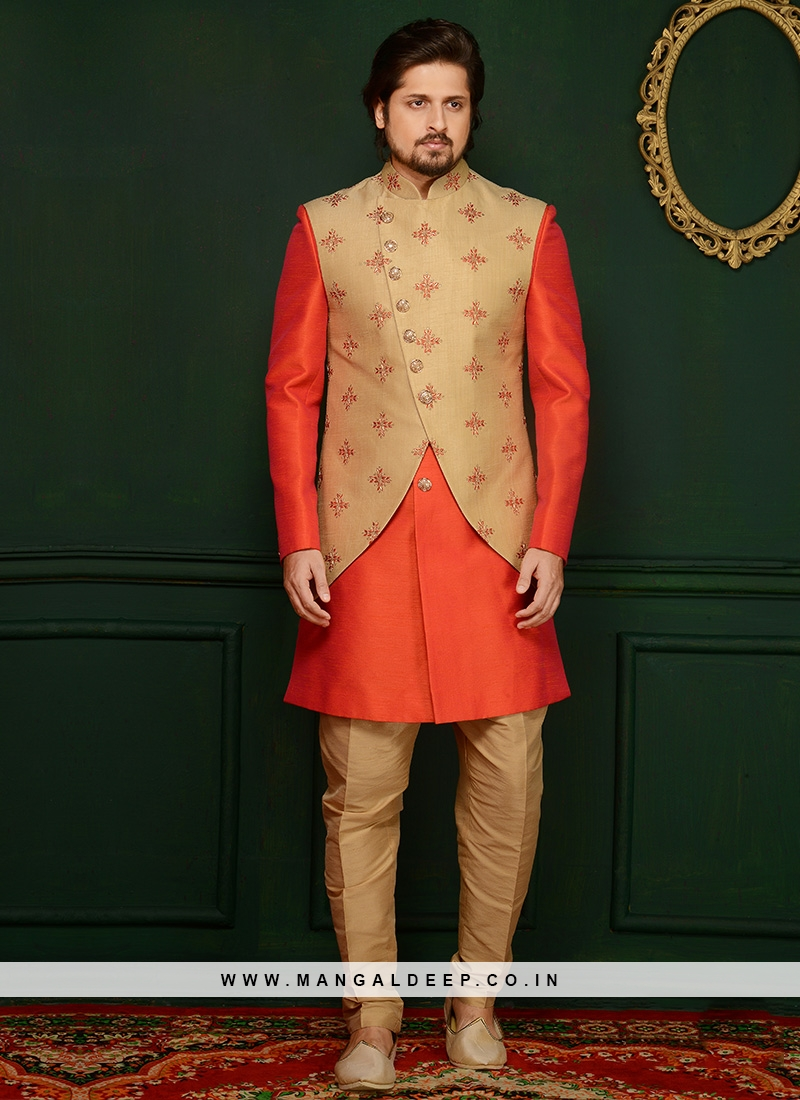 Art Banarasi Silk Orange Partywear Indo Western