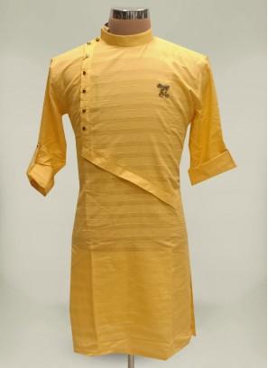 Asymmetrical Yellow Cotton Kurta