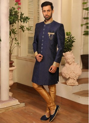 Attractive Blue Color Function Wear Fancy Indo Western Suit