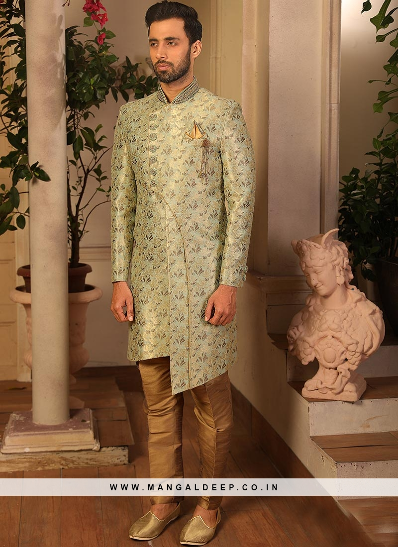 Attractive Green Color Function Wear Fancy Indo Western Suit