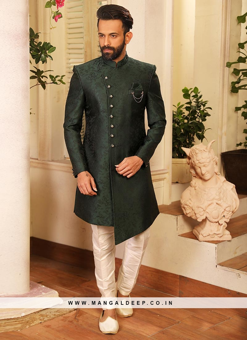 Attractive Green Color Function Wear Fancy Indo Western Suit