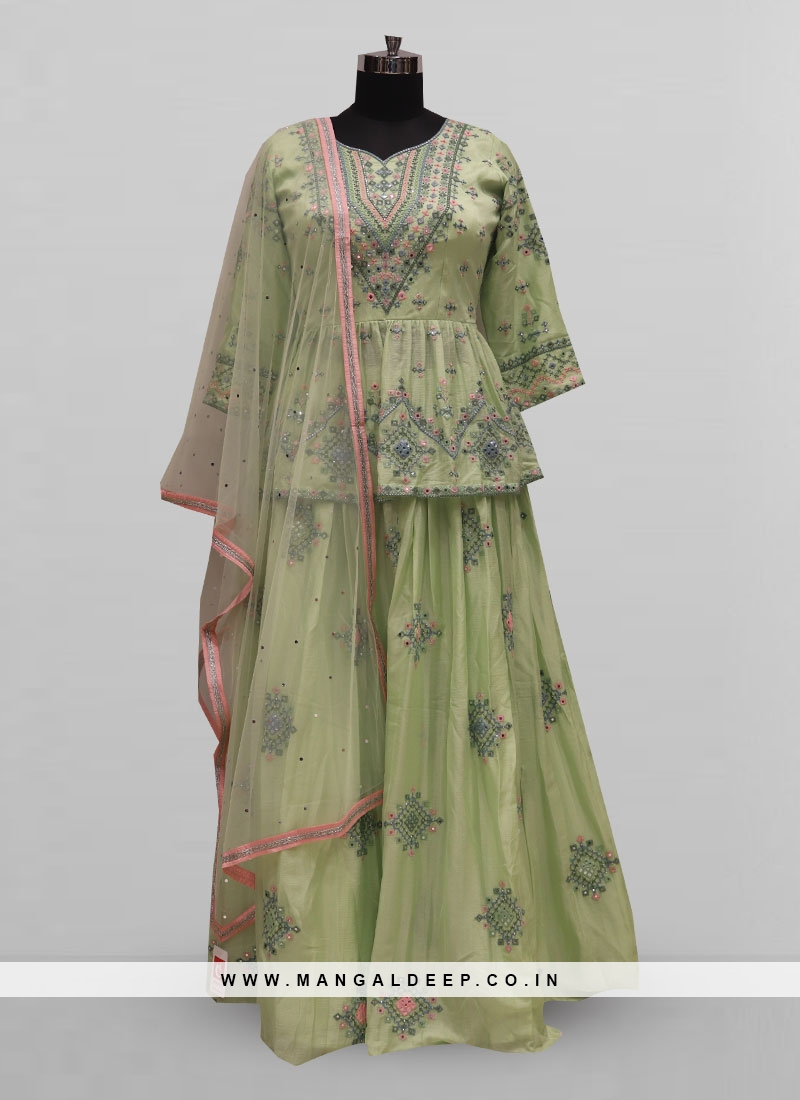 Attractive Green Color Party Wear Designer Lehenga Choli