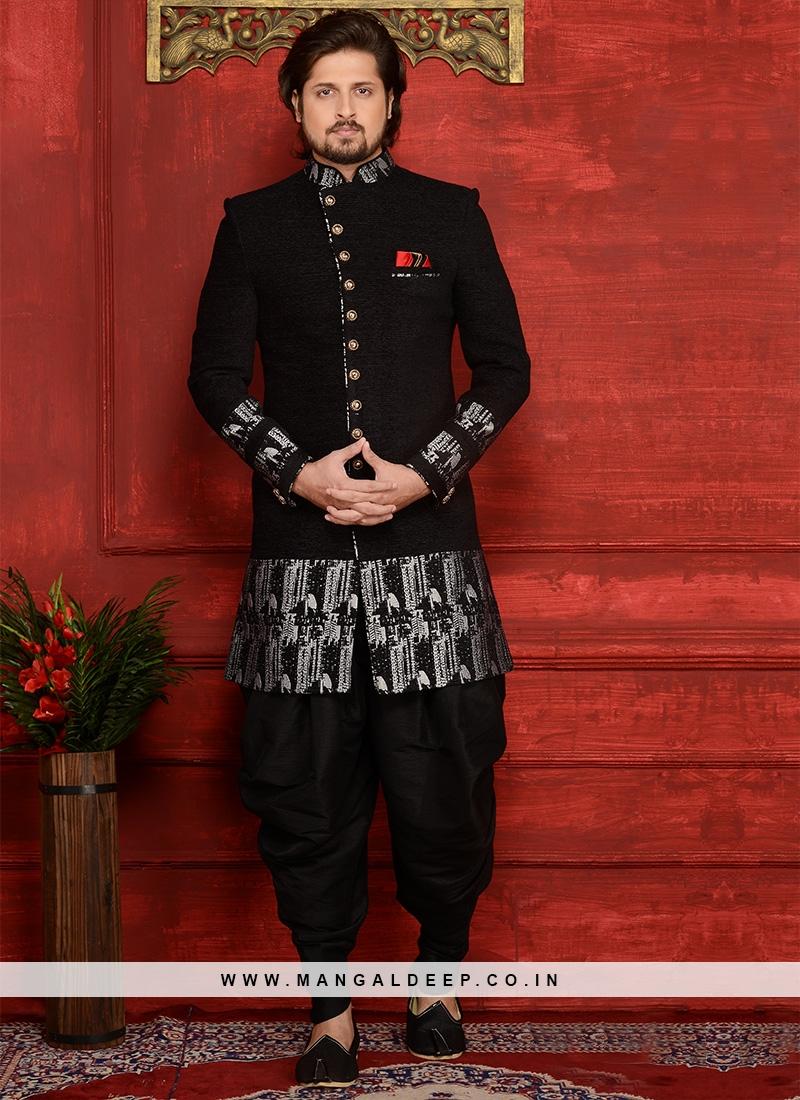 Attractive Jute Velvet Brocade Black Partywear Indo Western Suit
