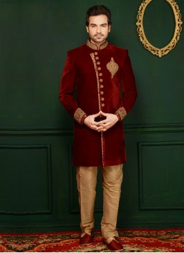 Attractive Maroon Wedding Wear Velvet Indo Western