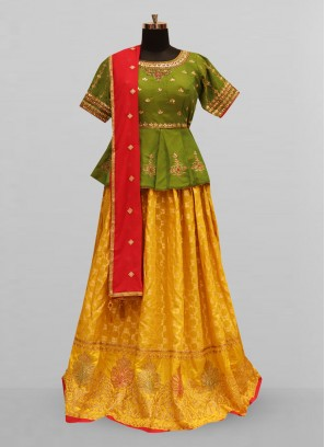 Attractive Mustard Color Party Wear Designer Lehenga Choli