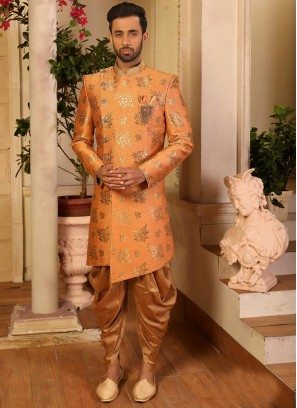 Attractive Orange Color Function Wear Fancy Indo Western Suit