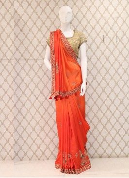 Attractive Orange Handwork Saree