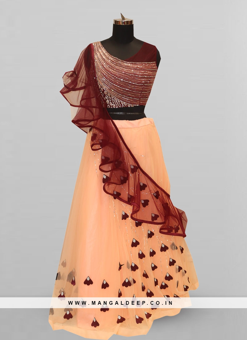 Attractive Peach Color Party Wear Designer Lehenga Choli