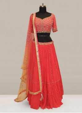 Attractive Red Color Function Wear Designer Lehenga Choli