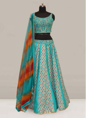 Attractive Sky Blue Color Function Wear Designer Lehenga Choli
