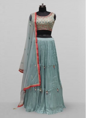 Attractive Sky Blue Color Party Wear Designer Lehenga Choli
