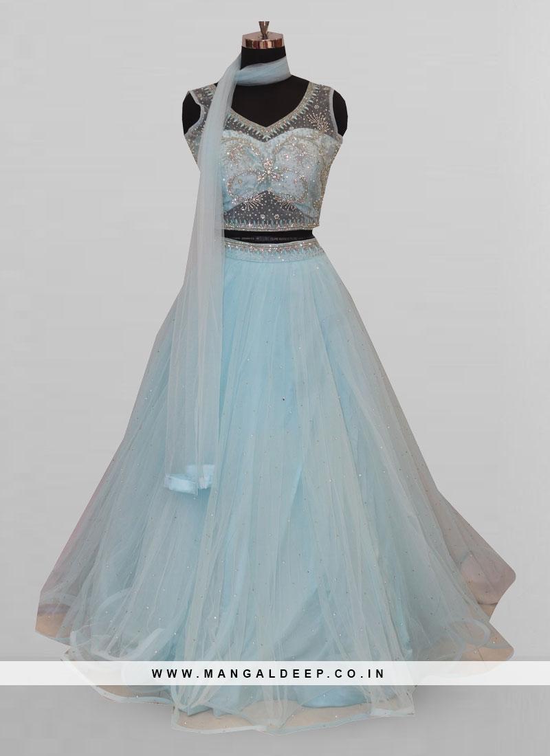 Attractive Sky Blue Color Party Wear Designer Lehenga Choli