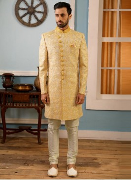 Attractive Yellow Color Function Wear Fancy Indo Western Suit
