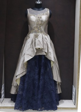 Awesome Gold and Navy Blue Silk Designer Reception Wear Gown