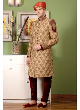 Awesome Gold Colour Men's Indo Westren Sherwani
