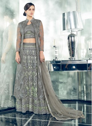 Awesome Grey Embroidered Floor Length Anarkali Suit