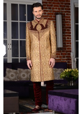 Awesome Men's Bridal Sherwani In Beige Colour