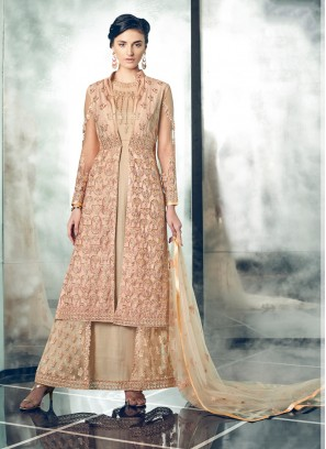 Awesome Peach Embroidered Floor Length Anarkali Suit