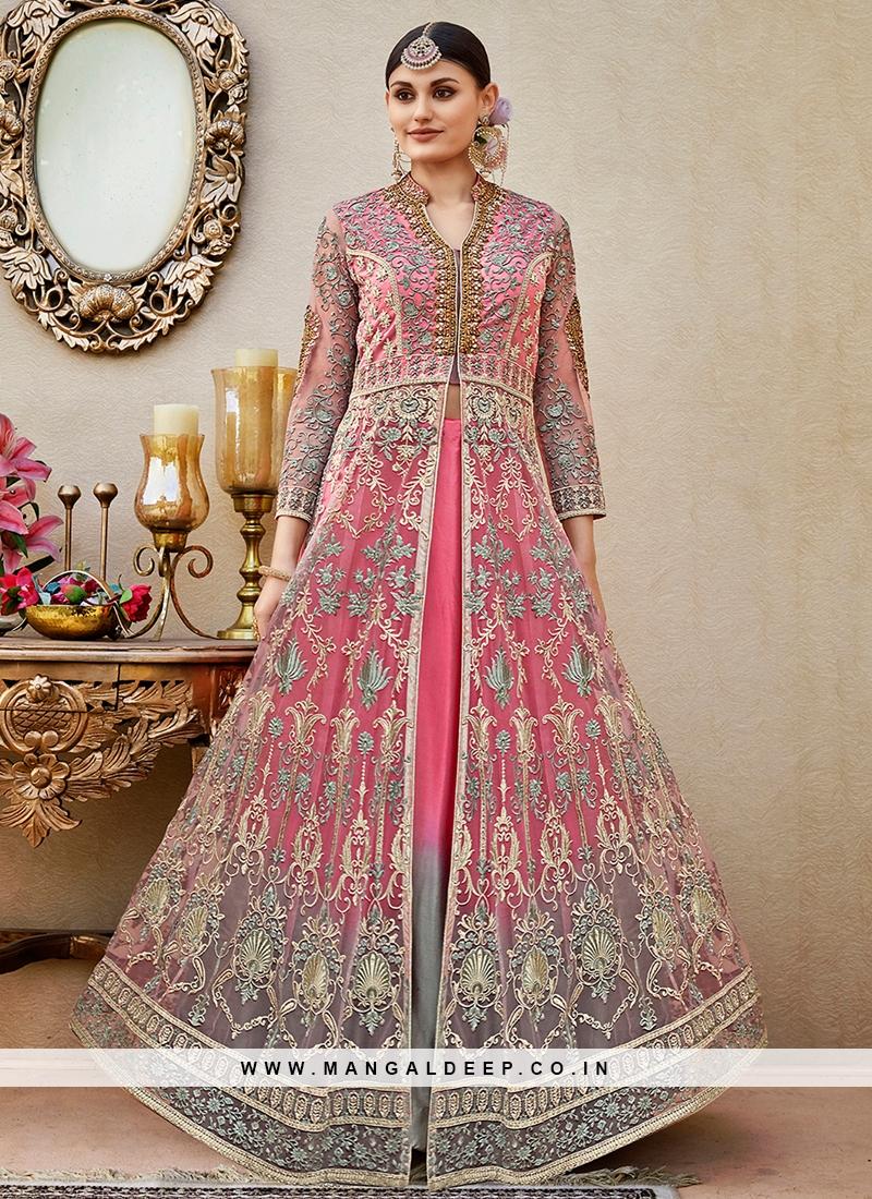 Awesome Pink Floor length anarkali Suit