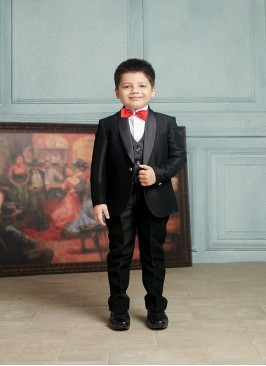 Baby Boys Black Color Imported Fabric Suit