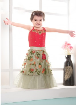 Baby Girl Grey Color Net Resham Work Lehenga